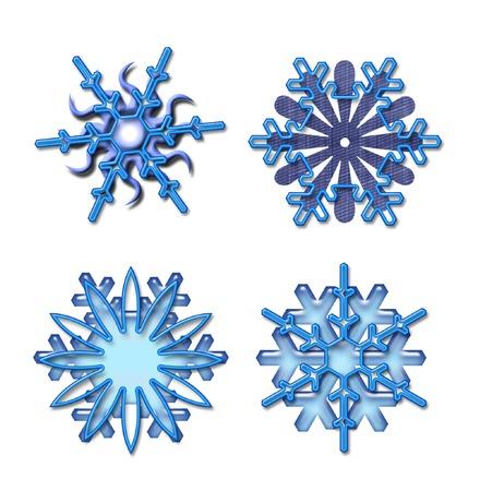 Snowflakes isolated on white photo