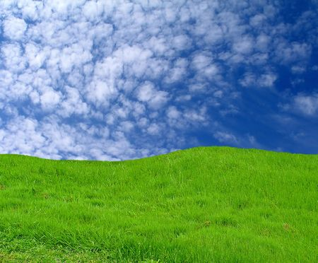 over hill: Sky and grass (hills) - background Stock Photo