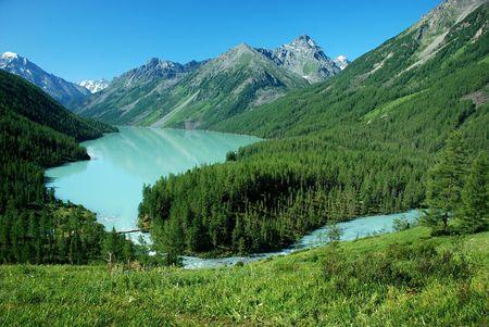to altai: Mountain lake Kucherlinskoe, near mountain Belukha 4506 m, Altai, Russia