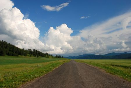 Country road, Altai, Russia Stock Photo - 2101574