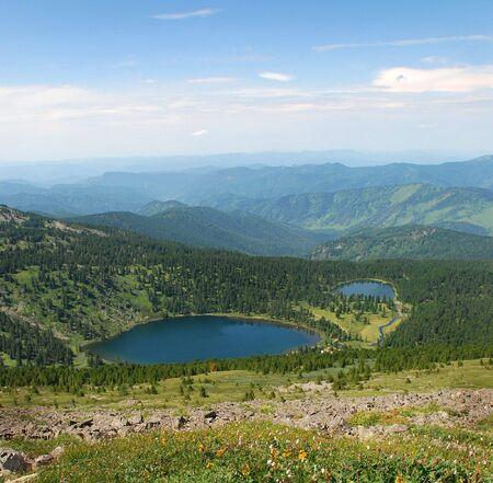 talus: Karacol lagos de monta�a, Altai, Rusia, paisaje, airview