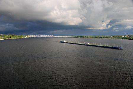 River Volga, bulk-carrier, Kostroma, Russia photo