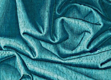 creases: Blue fabric, fancywork Stock Photo