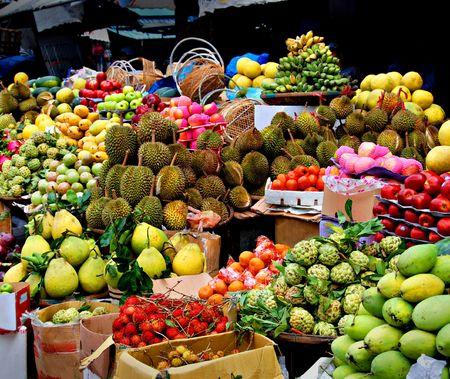 Asian market, exotic fruits