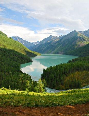 to altai: Mountain lake Kucherlinskoe, Altai, Russia Stock Photo