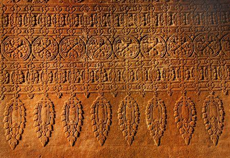 angkor wat: Old wall, stone ornament in antique Angkor Wat, Cambodia