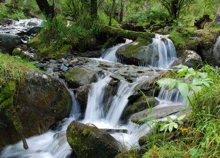cours d eau: Chute d'eau, rivi�re de montagne de l'Alta�, Russie Banque d'images