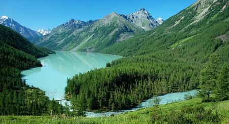 Mountain lake Kucherlinskoe, near mountain Belukha 4506 m, Altai, Russia photo