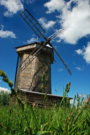 berkmeer: Old windmill in field, Suzdal, Russia Stock Photo