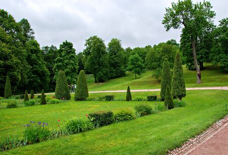 Formal garden, park in Saint Petersburg, Russia photo