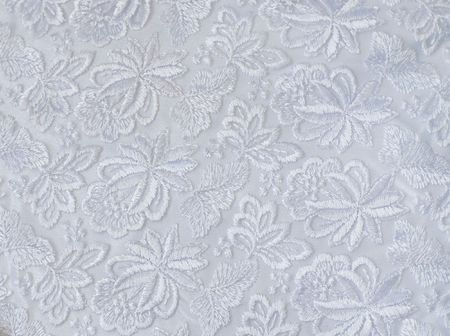 fancywork: White guipure, embroidery on cloth for wedding dress, texture Stock Photo