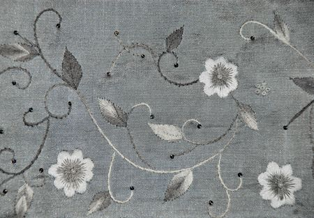 embroidered: Embroidery on gray silk, design element