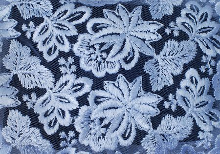 guipure: White guipure, embroidery on cloth - texture, design element Stock Photo