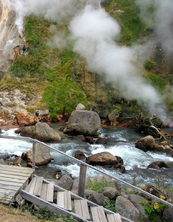 geysers: Valley of Geysers, hot river, Kamchatka, Russia