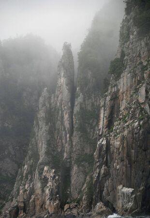 cusp: Mountain rocks, chine, cliff, Primorye, coast of the Sea of Japan, Russia