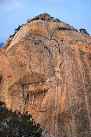 Insubong Peak, mountains Bukhansan in Seoul, South Korea, rock climbing in national park photo