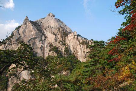 Baegundae peak, mountains Bukhansan in Seoul, South Korea, national park Stok Fotoğraf
