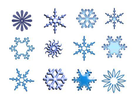 Snowflakes on white - design elements photo