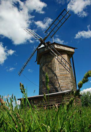Old windmill in field, Suzdal, Russia Stock Photo