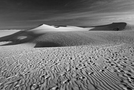 Sand desert, dune, black and white photo photo
