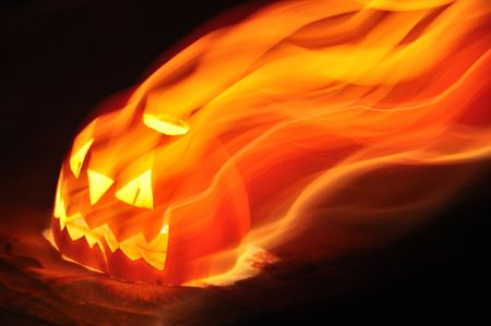 Halloween pumpkin with candle photo
