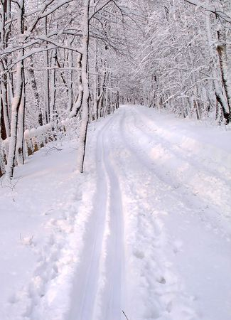 Snowy road photo