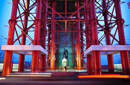 steelwork: Cityscape, iron bridge, tubular steelwork, Vladivostok, Russia Stock Photo