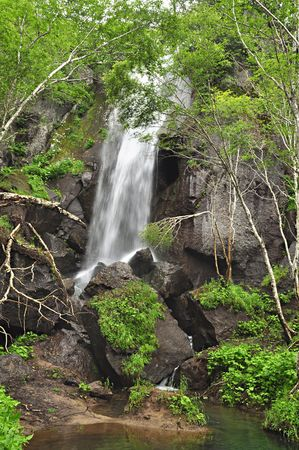 Waterfall in forest, wild landscape, Changbaishan, China photo