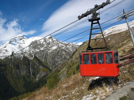 Caucasian mountains, Elbrus, red cable car, ropeway Stock Photo - 8019771