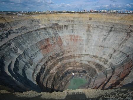 Kimberlite diamond pipe Peace, Mir Mine, Mirny, Yakutia, Russia