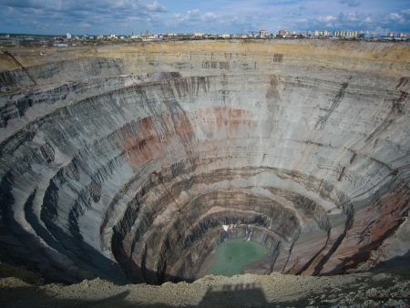 biggest: Kimberlite diamond pipe Peace, Mir Mine, Mirny, Yakutia, Russia