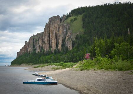 lena: Lenskie Stolby National Nature Park in Lena river, wild mountain landscape in siberian taiga, Yakutia, Russia