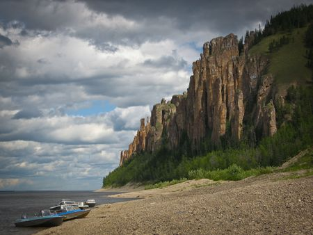 Lenskie Stolby National Nature Park in Lena river, wild mountain landscape in siberian taiga, Yakutia, Russia