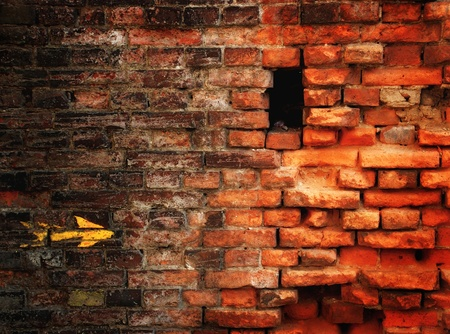 embrasure: Brick wall with arrow and embrasure