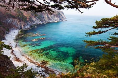 Seascape, green water bay in Sea of Japan, Primorye, Russia, Far Eastern Maritime preserve photo