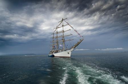 sailing ship: Sailing-ship in Japan sea before storm