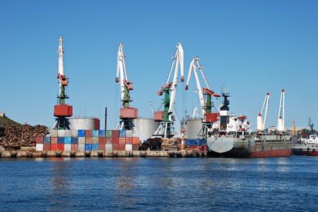 bulk carrier: Trade sea port Vladivostok, Russia, Pacific ocean Stock Photo