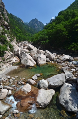 Forest river, beautiful landscape of National Park Seoraksan, South Korea photo