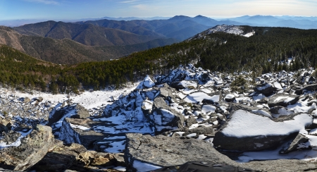 the far east: Panorama of winter mountains, wild landscape, taiga, Primorye, Far East of Russia