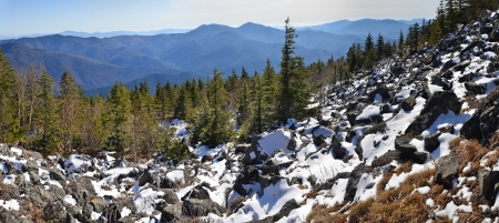 Panorama of winter mountains, wild landscape, taiga, Primorye, Far East of Russia photo