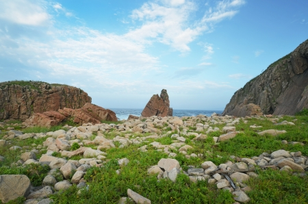 Seascape, stone shore near Pasific ocean, Sea of Japan, Primorye, Russia, Far Eastern Maritime preserve  photo