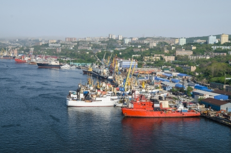 port Vladivostok, panorama of container terminal, Russia, ships and railway, Zolotoy Rog bay photo