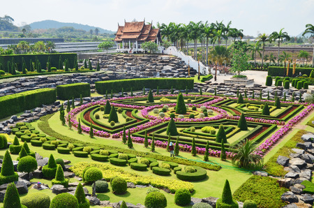 Nong Nooch Tropical Garden in Pattaya, Thailand, formal garden Stock Photo