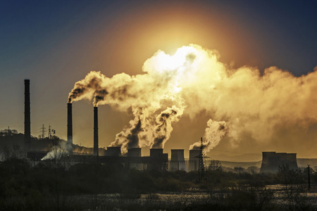 Factory pipe polluting air, environmental problem photo