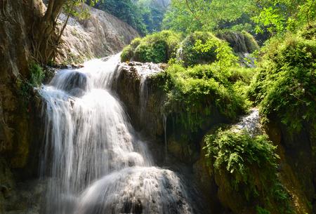 eravan: Erawan Waterfall, Kanchanaburi, Thailand, forest landscape, river with waterfall, jungle, mountain stream Stock Photo