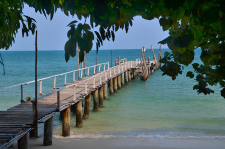 samet: Old wood bridge pier  nobody, blue tropic sea, natural background, Ko Samet, Thailand Stock Photo