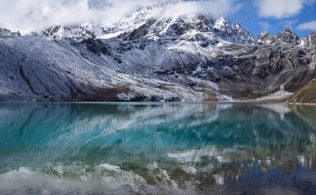 Himalayas. View from Gokyo Ri, 5360 meters up in the Himalaya Mountains of Nepal, snow covered high peaks and lake.
