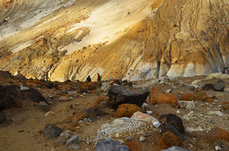 Mutnovsky volcano, Valley of Geysers, hot mud sources, Kamchatka, Russia