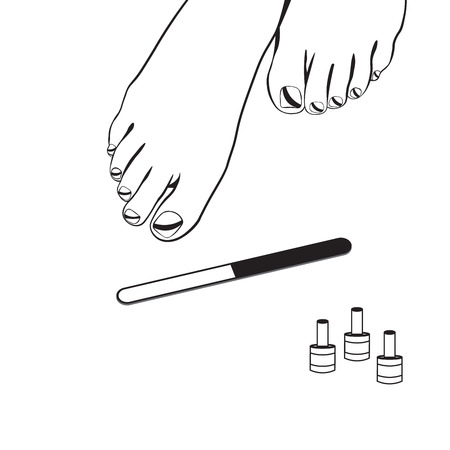 young girl feet: Foot care, pedicure, spa pedicure, vector illustration