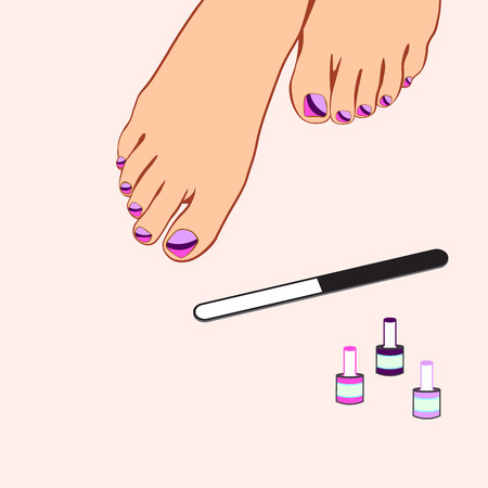 pedicure: Foot care, pedicure, spa pedicure, vector illustration